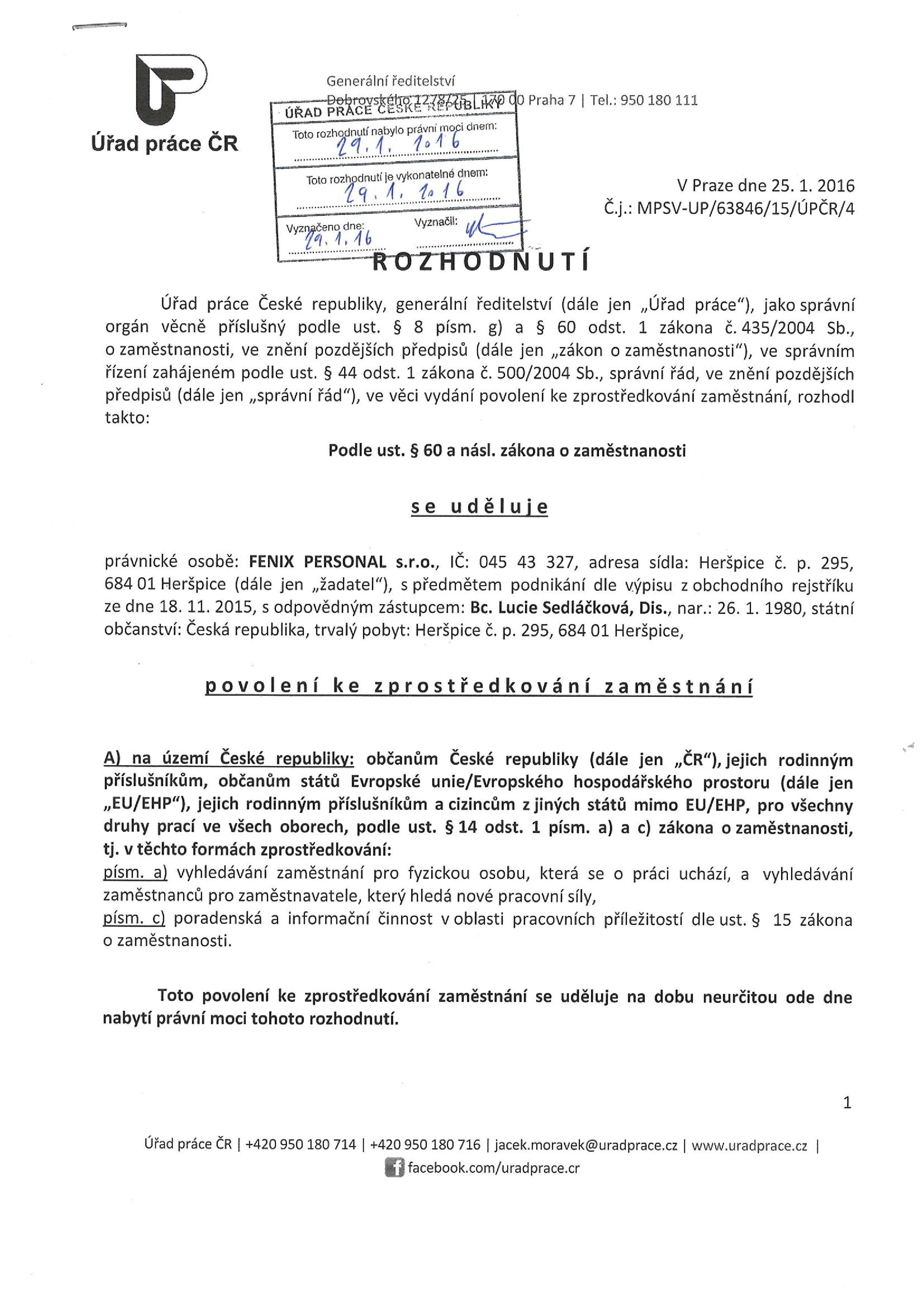 Employment mediation permit