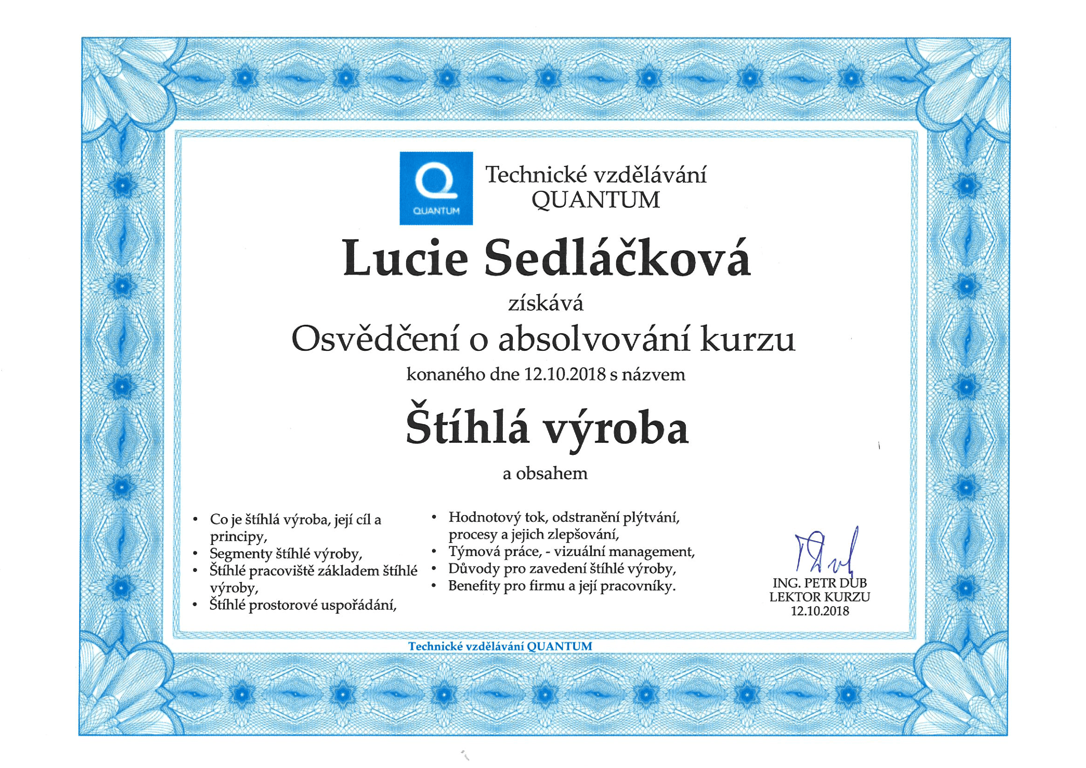 Certificate of completion of the lean production course